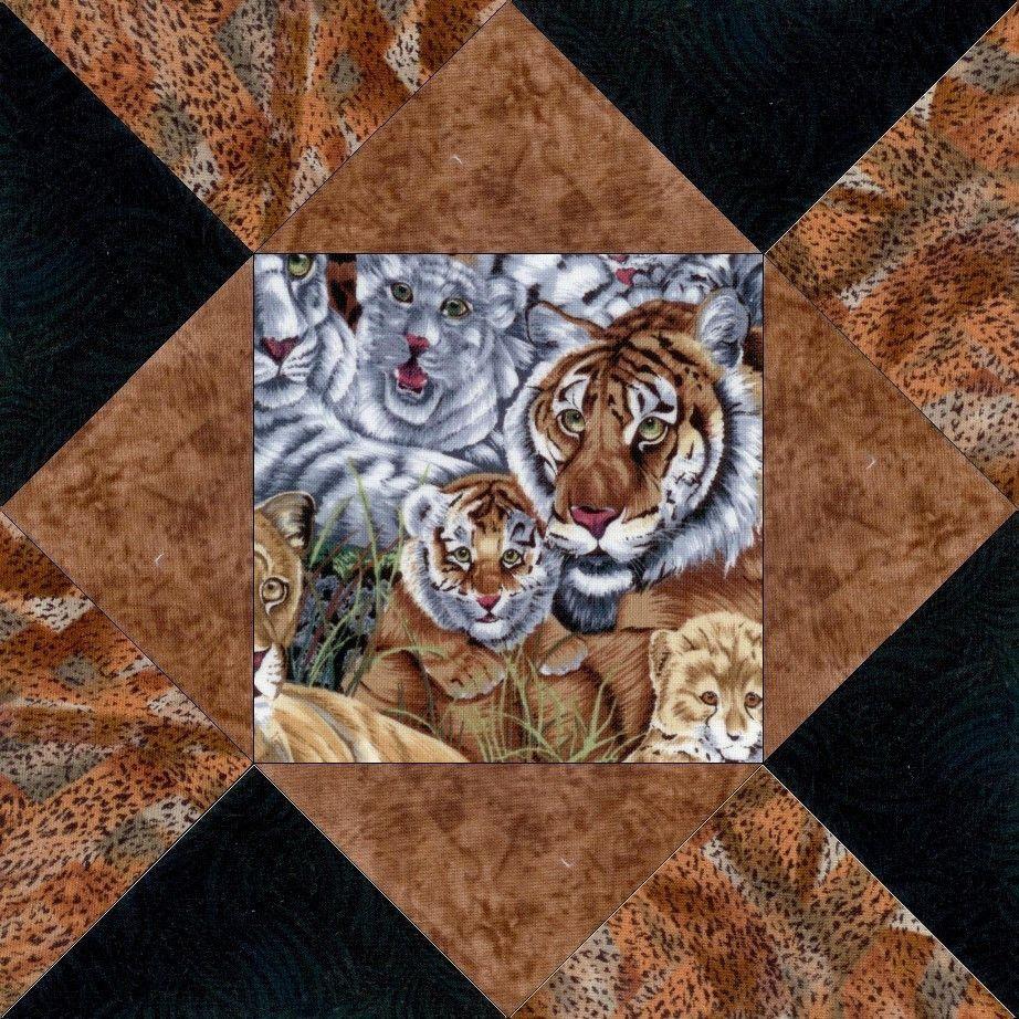 Safari Cat Faces Pre-Cut Fabric Quilt Kit Blocks