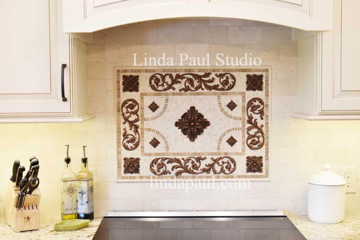 Mosaic Kitchen Backsplash Tile Medallions And Accents Mosaic Backsplash Kitchen Stone Backsplash Mosaic Tile Backsplash