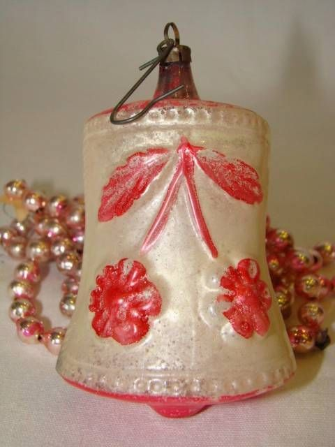 Christmas Baubles Germany : Antique thin glass painted floral bell christmas ornament