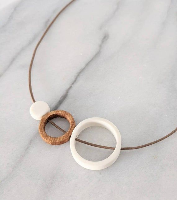 Photo of ceramic necklace / wood circle necklace / wooden necklace / ceramic jewelry / 18th wedding anniversa