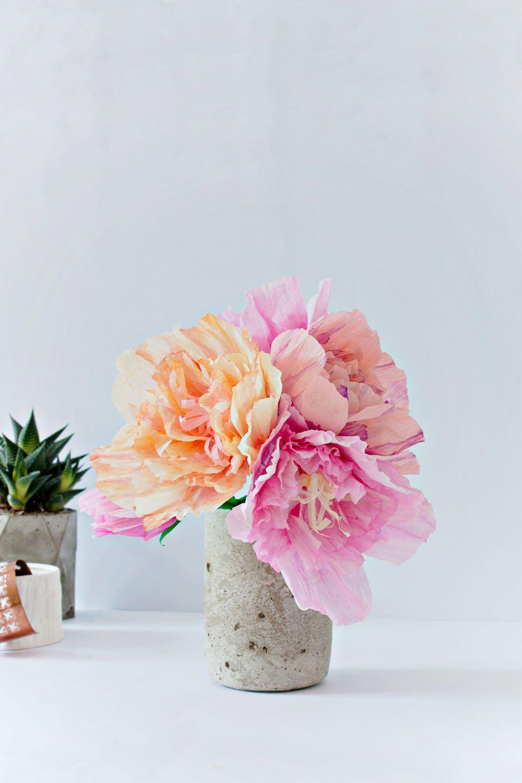 DIY | Paper Peonies and Concrete Vase #molliemakes