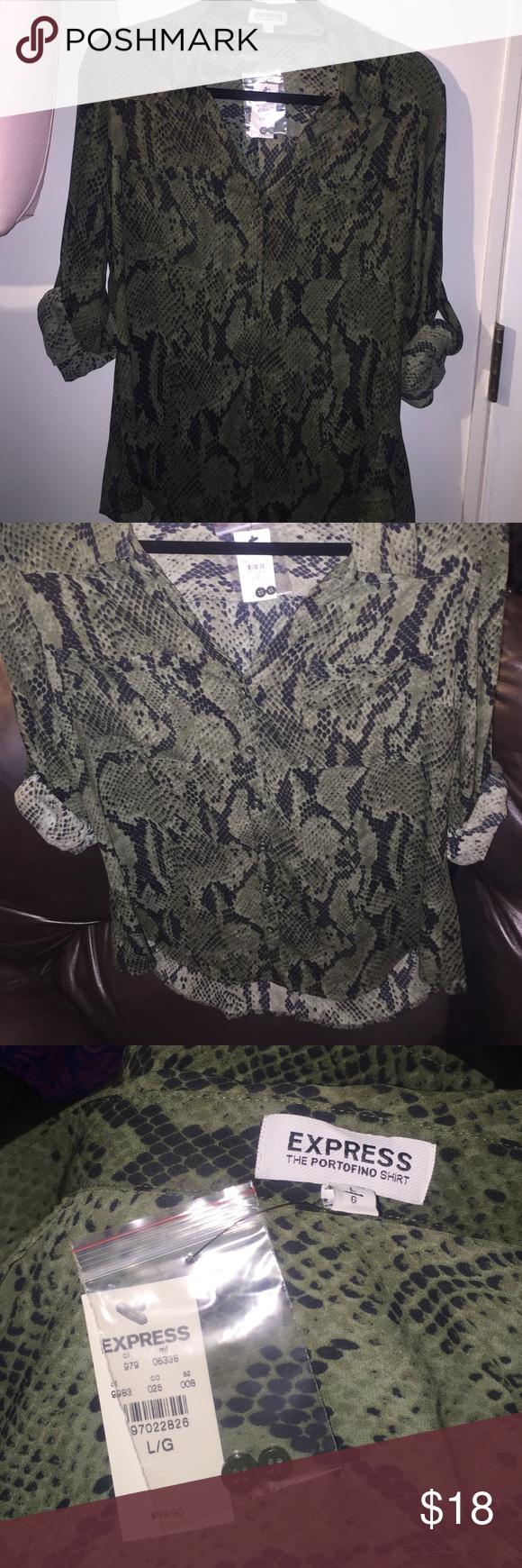 Button down portofino blouse Dark green snakeskin print -button down portofino shirt from express. Express Tops Button Down Shirts