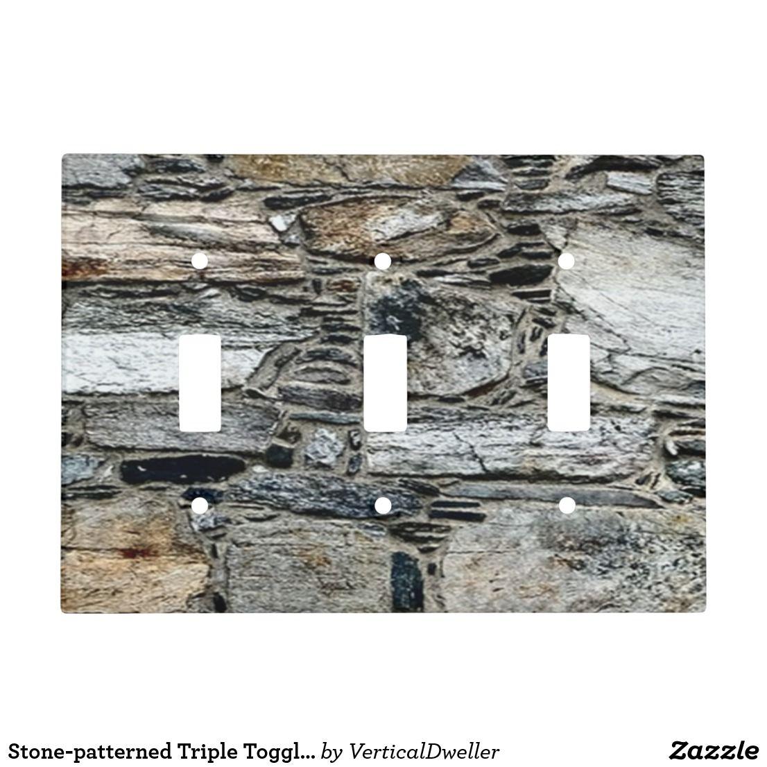 Stone Patterned Triple Toggle Light Switch Gbo Toggle Light Switch Stone Accent Walls Stone