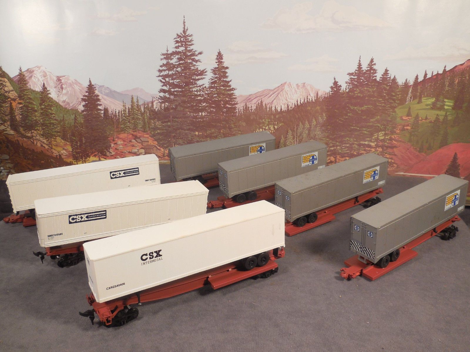 HO BUILT Athearn SEVEN (7) CAR SET Impact End Spine Cars CSX SANTA FE w/TRAILERS https://t.co/EsMflmbBvA https://t.co/4lRxbbXq2M
