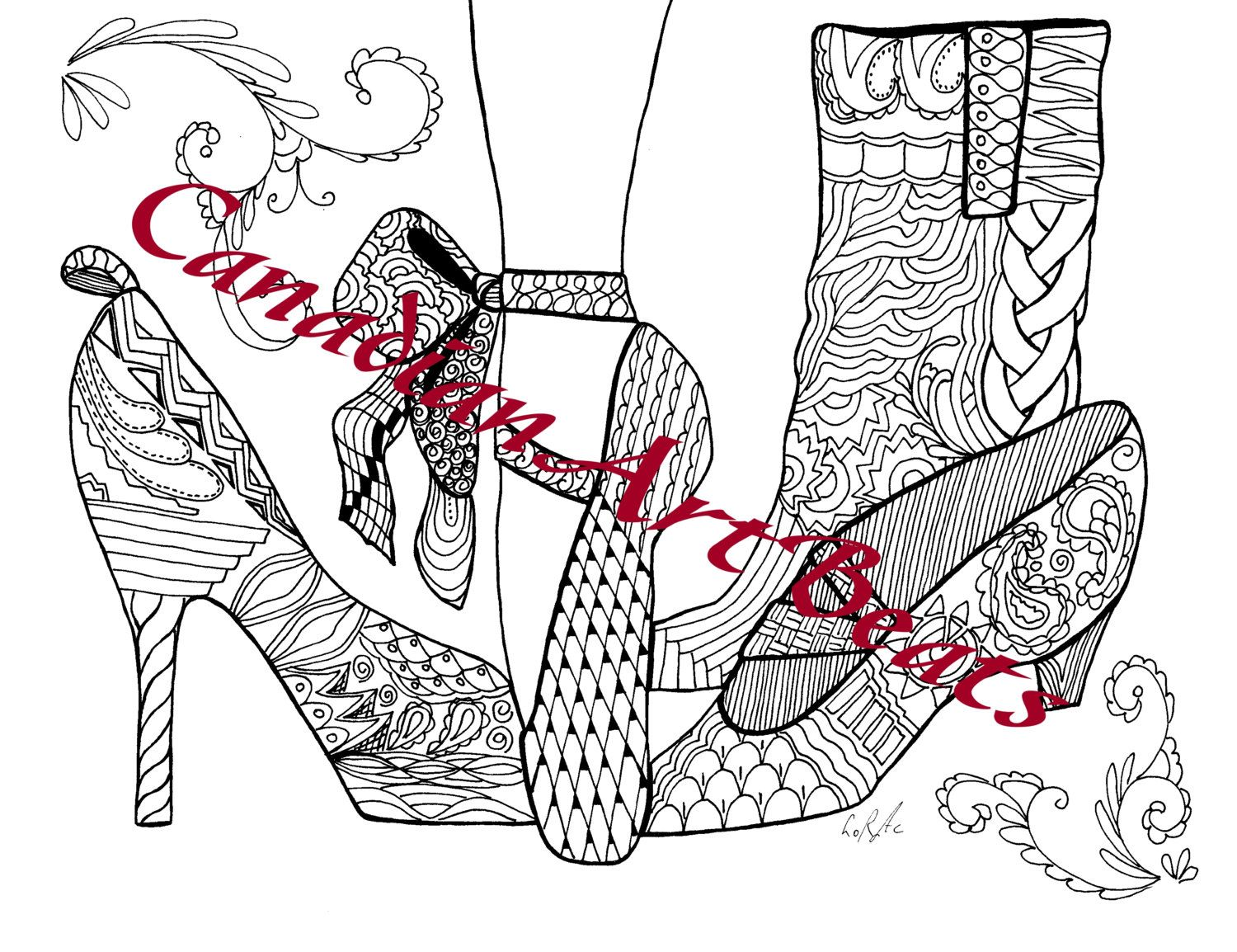 Shoes Ballet Shoes Boots Pumps Accessories Coloring Page Printable Downloadable Art By Canadianartbeats On Etsy