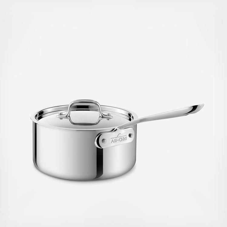 Because Of Its Shape This All Clad Stainless 1 5 Qt Sauce Pan Pan Is Ideal For Making Sauces Heating Liqu Stainless Steel Cookware Stainless Stainless Steel