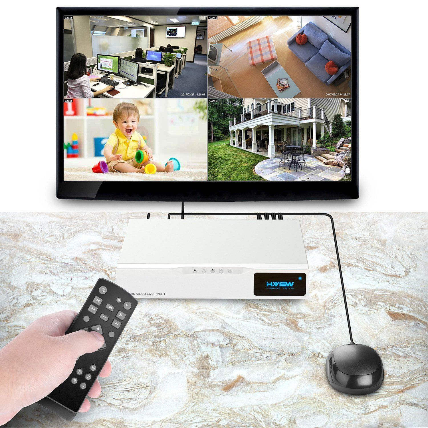 H View 4ch Home Security 1080p Cctv Camera Systems With Hard Drive