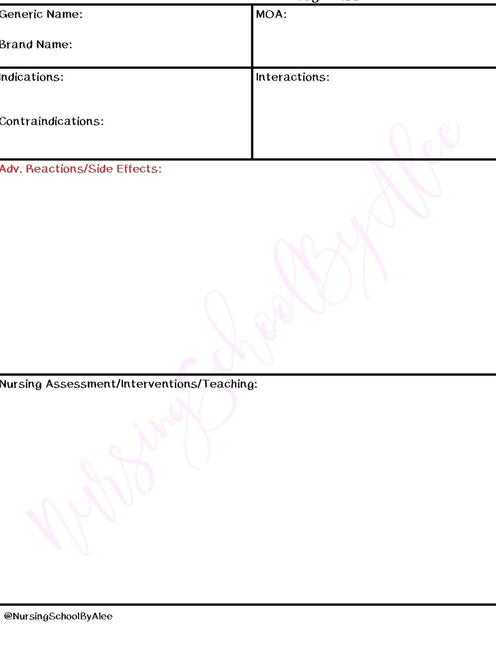 Printable Nursing School Pharmacology Drug Card Template Drug Cards Nursing School Pharmacology Pharmacology