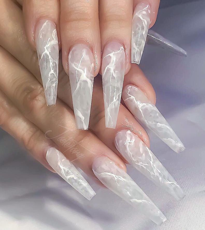 50 Gorgeous Matte Water Marbel Nails Design On Coffin Nails Stiletto Nails Page 4 Of 50 Latest Fashion Trends For Woman Coffin Nails Designs Nail Designs Stiletto Nail Art