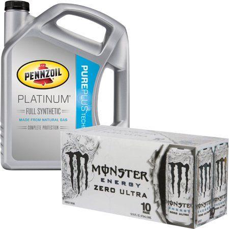 Pennzoil Platinum 0w20 Motor Oil 5qt + Monster Energy 10PK