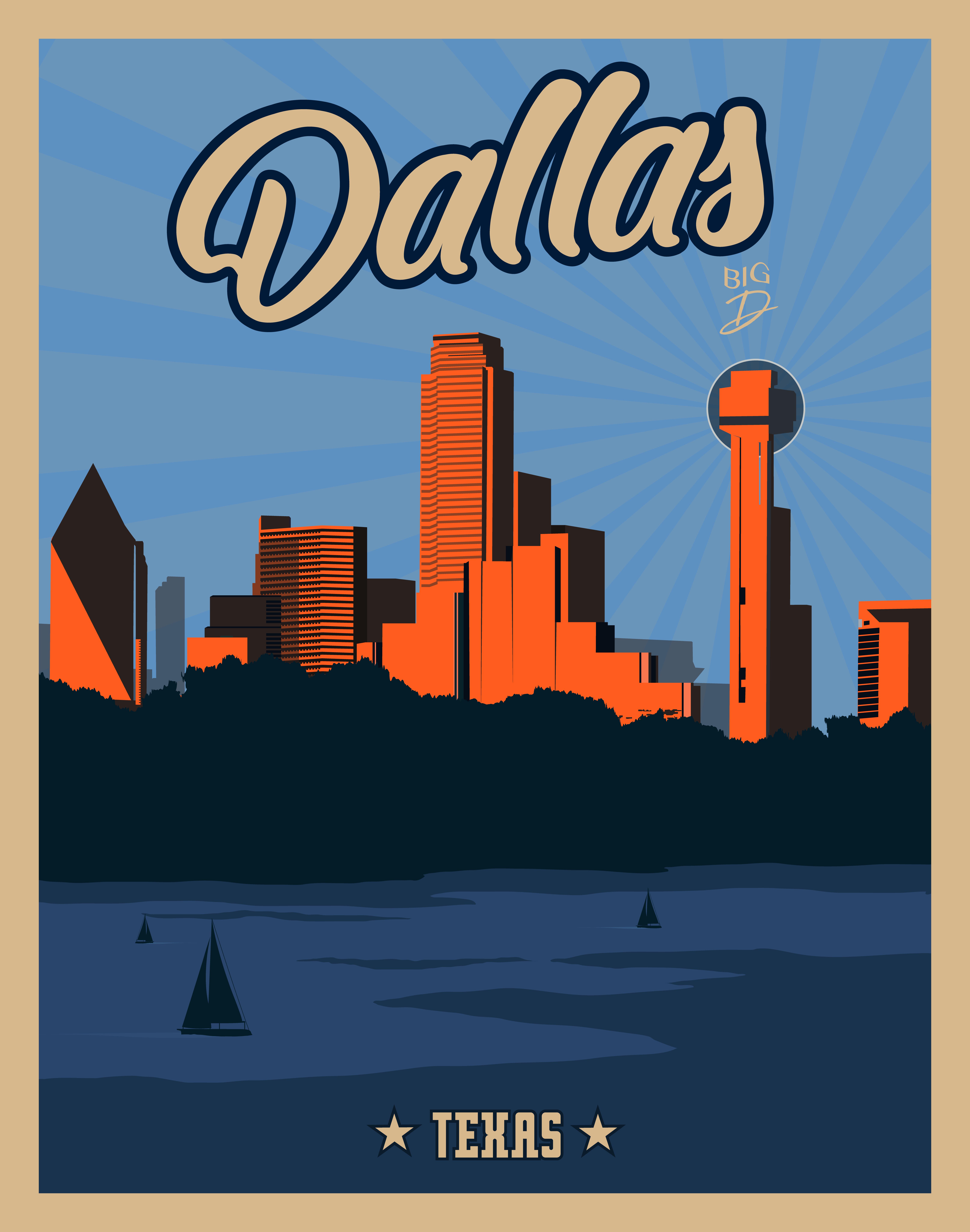 """Big D"" Dallas Texas Vintage Travel Poster Framed"