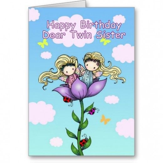 Happy Birthday Twin Sister Vintage Card