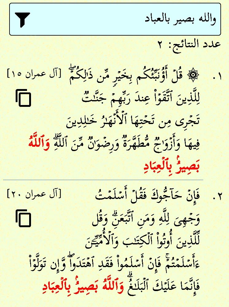 والله بصير بالعباد مرتان في القرآن في آل عمران ١٥ ٢٠ إن الله بصير بالعباد وحيدة في غافر ٤٤ Math Math Equations