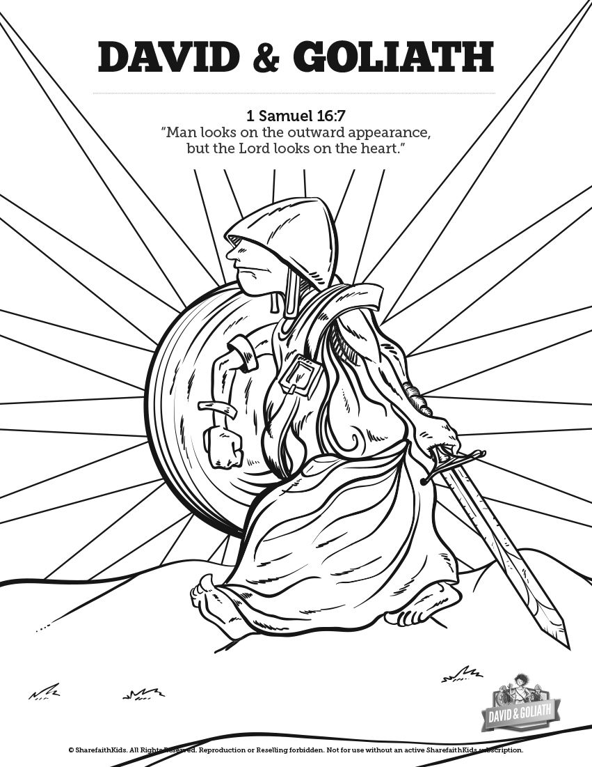 David and Goliath Sunday School Coloring Pages: A great