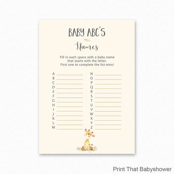 baby shower games - baby name abc game
