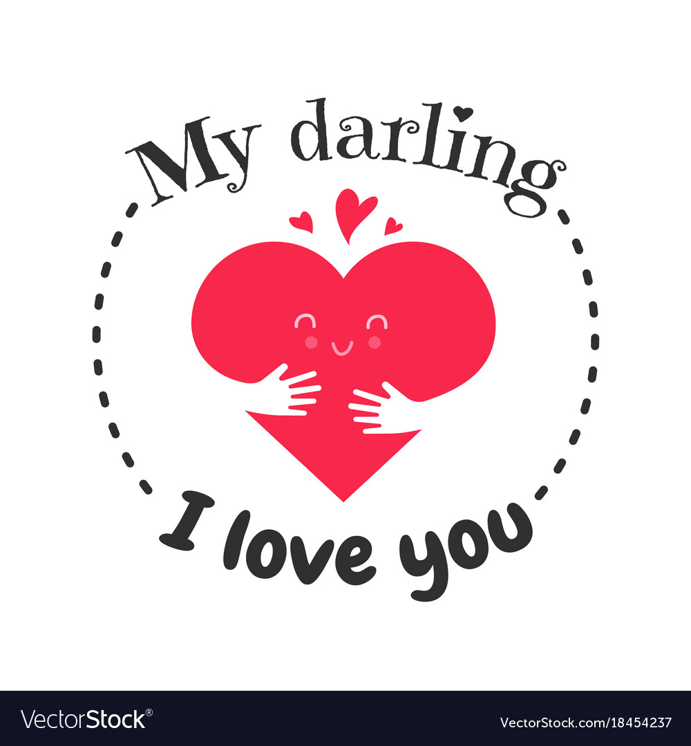 Download I love you funny face heart greetin cart banner vector ...