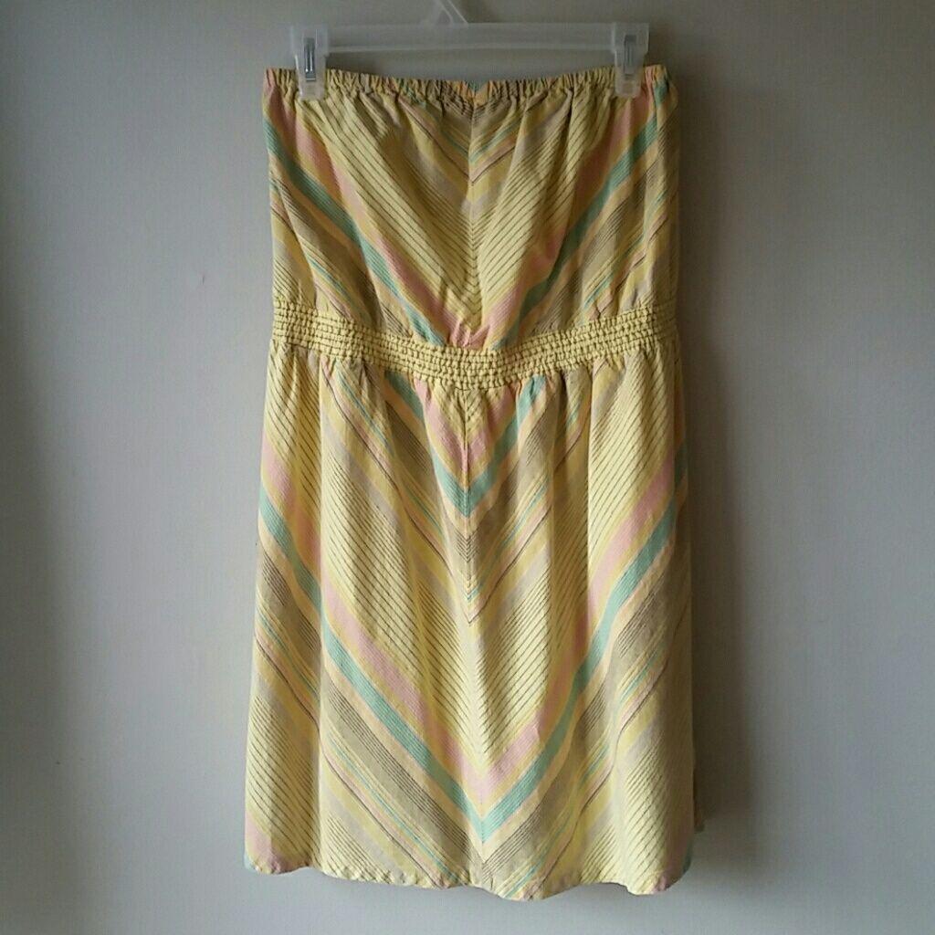 Short Strapless Yellow Dress For Summer!