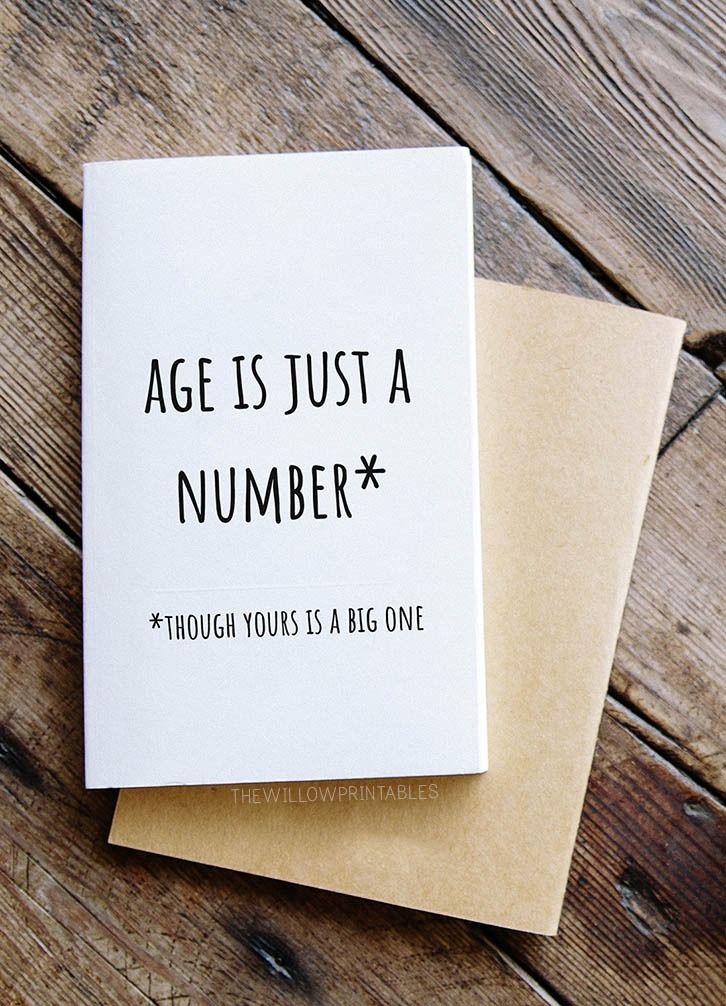 Age Is Just A Number Funny Printable Birthday Card, Simple