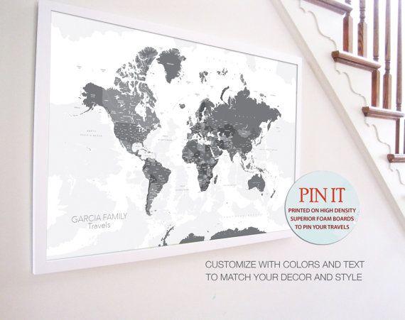 Push Pin World Map 24x36 Inches World Travel Honeymoon Vacation