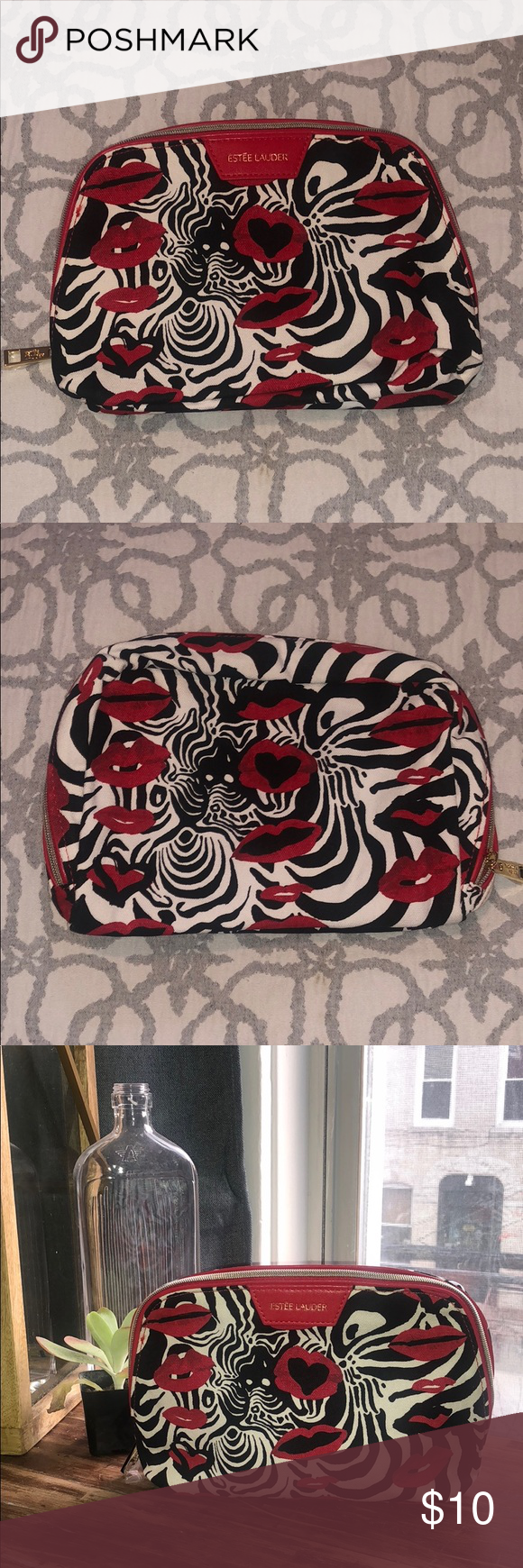 Zebra and Lip Estēe Lauder Makeup Bag Brand New Zebra and