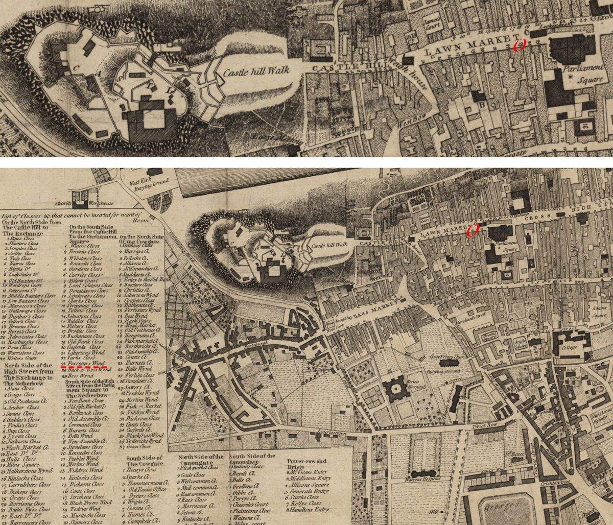 shown on the maps circled in red map of edinburgh 1780 zoomable herehttpmapsnlsukview74400070 roxtonfamilysaga
