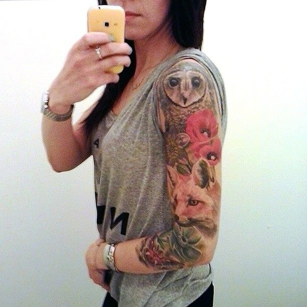 Ewa On Instagram In Progress Foxtatto Owltattoo Poppytattoo Flowerstattoo Tattooslee Sleeve Tattoos For Women Animal Sleeve Tattoo Nature Tattoo Sleeve