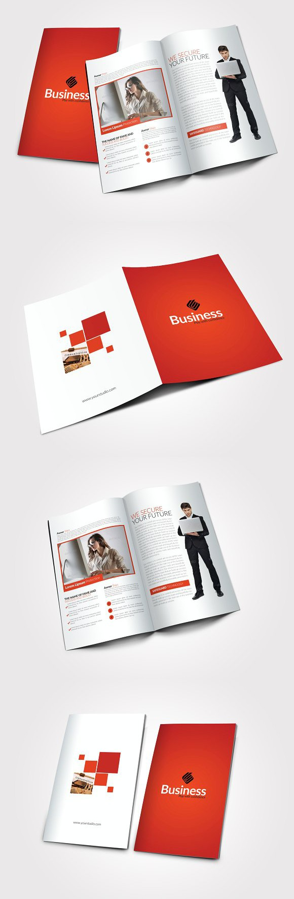 4 Pages Business Bi Fold Brochure | Brochures, Card templates and ...