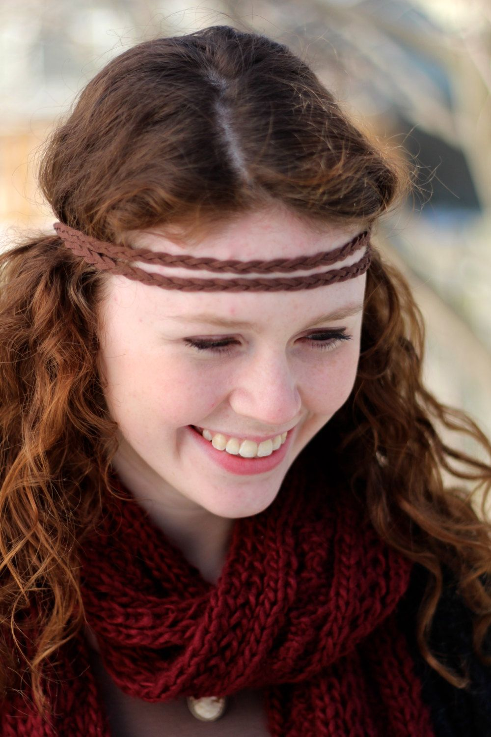 diy hippie headband, brown braided suede leather headband