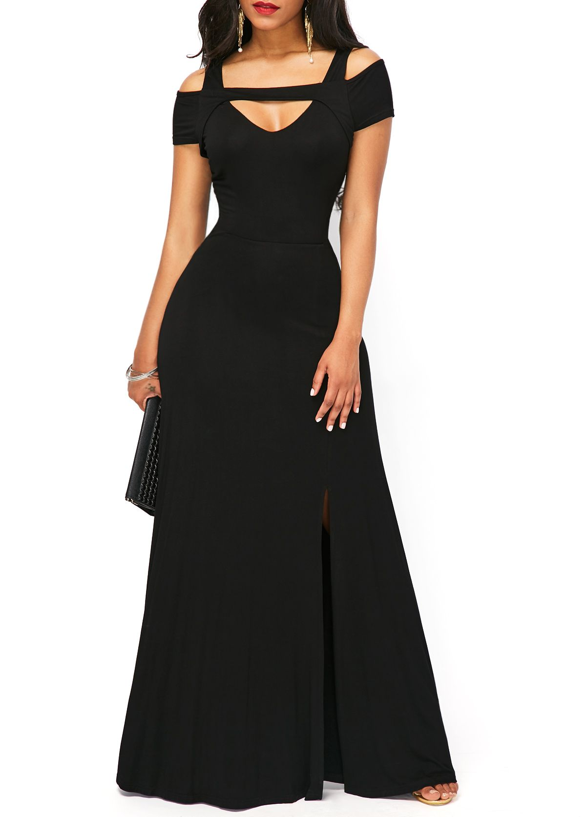 Black side slit short sleeve maxi dress clothes pinterest