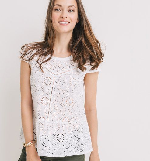 Top en broderie anglaise Femme blanc - Promod   Tenue   Broderie ... 8bf41f080a90