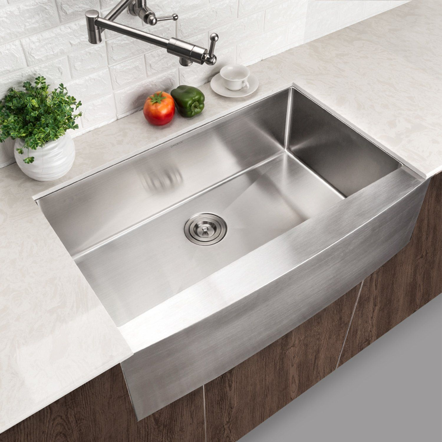 Lordear Slj16003 Commercial 33 Inch 16 Gauge 10 Inch Deep Drop In Stainless Steel Undermout Stainless Steel Farmhouse Sink Stainless Steel Farm Sink Farm Sink