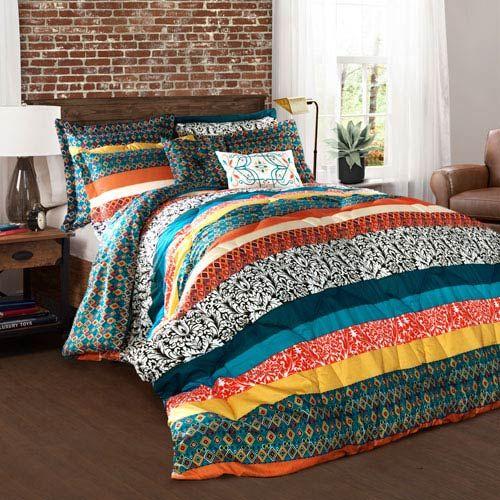 Lush Decor Boho Stripe Multicolor Seven Piece Full/Queen Comforter Set C28995P14 000