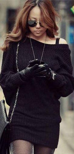Black Boat Neck Long Dolman Sleeve Knit Sweater Tunic Mini Dress ...