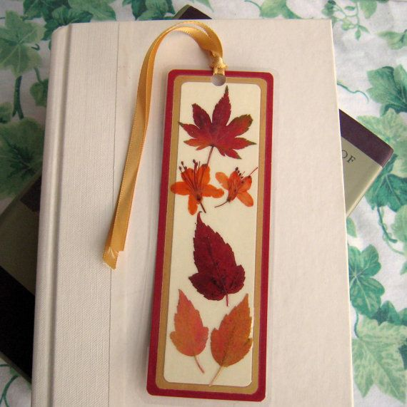 Pressed Fall Leaves and Flowers Collage Laminated Bookmark
