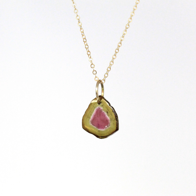 Necklace chain watermelon Tourmaline pendant 14 K Gold