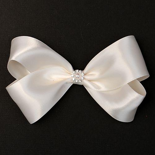 fancy satin pearl girls hair bow