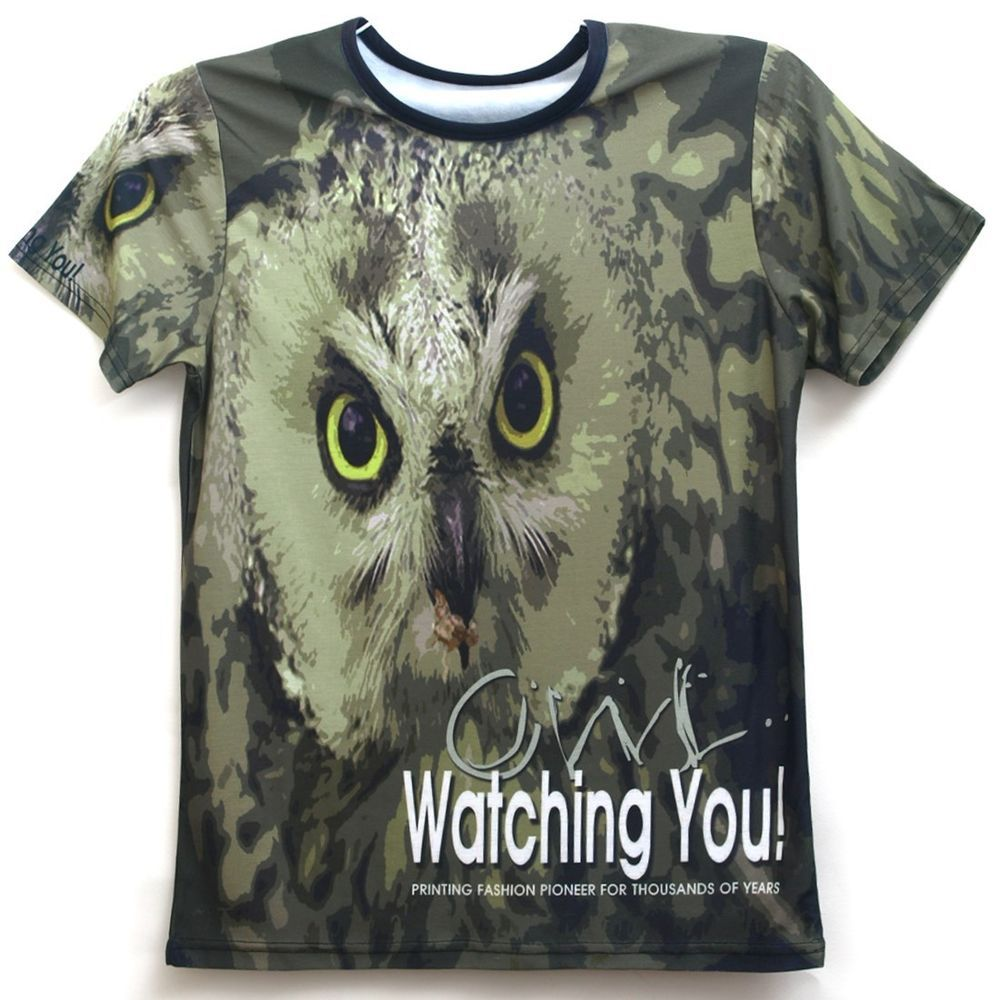 """All Over Full Printing Handmade Custom Men's Graphic Owl T Shirts Top Tee-AN5.-We use Eco-Friendly Ink.""""The T-Shirts Ink are Never Coming Out."""" WORLD BEST UNIQUE ALL OVER PRINT HANDMADE CUSTOMS T-SHIRT!!! -Printed using high performance digital printing technology in full color with durable photo quality reproduction.-Sleeve Length: Short Sleeve.-Style: Full Printing   Graphic T Shirts Top Tee.-Made : Korea, Republic of.-Material:Polyester.-Machine Washable.-Size(Mens):S,M,L,XL,2XL,3XL"""