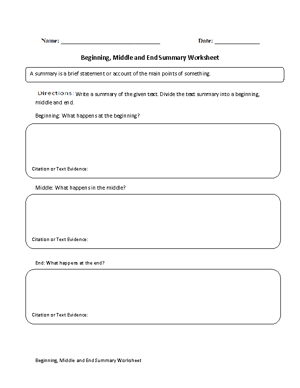 beginning  middle and end summary worksheet