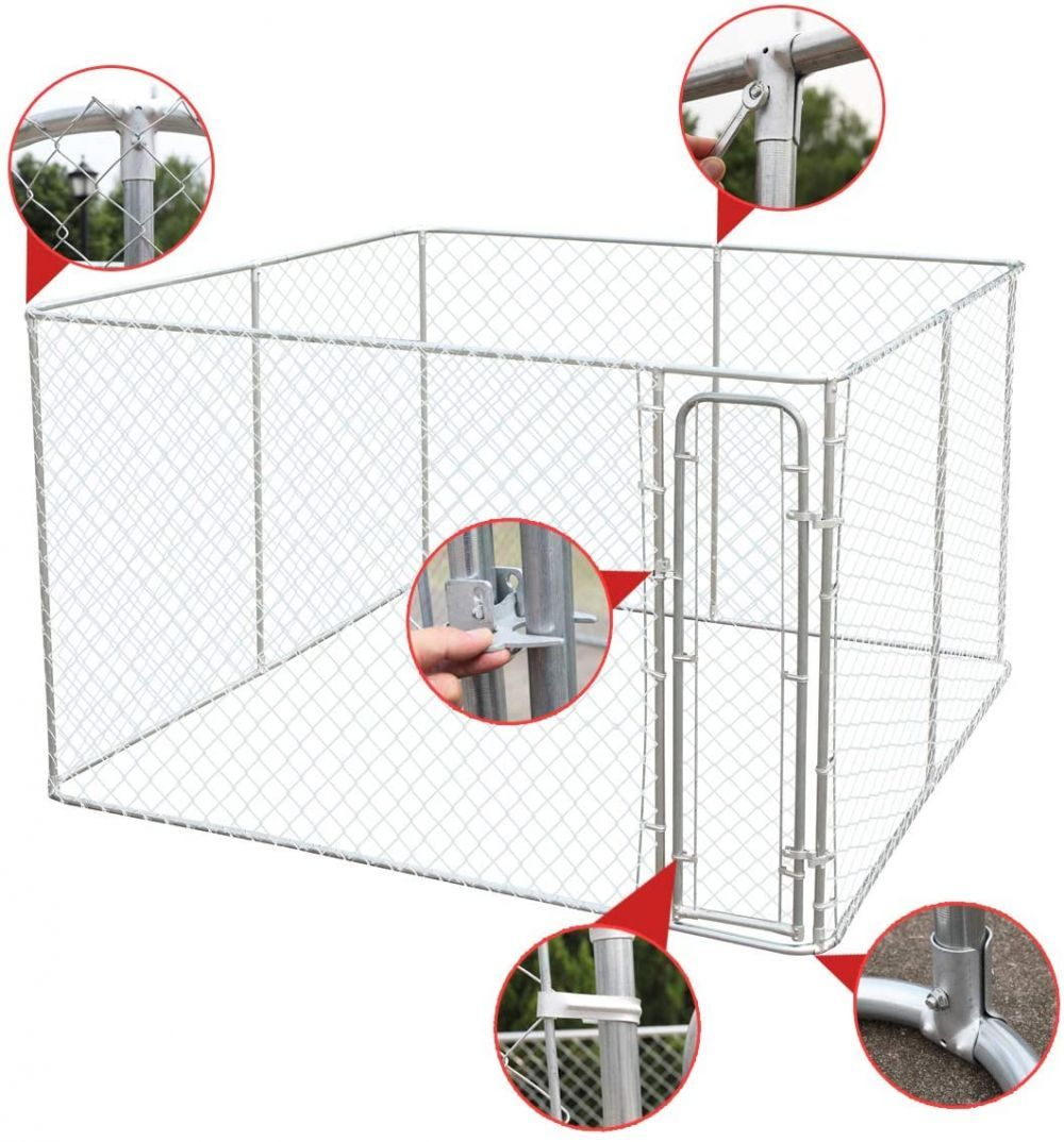 Jaxpety Opentop Chain Link Fence Dog Kennel Outdoor
