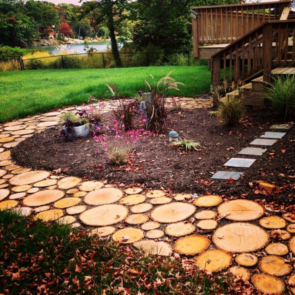 Rustic Sliced Log Stepping Stone Walking Path Sliced Tree Stump Stepping Stones Rustic Sliced Log Step In 2020 Garden In The Woods Garden Pathway Outdoor Walkway