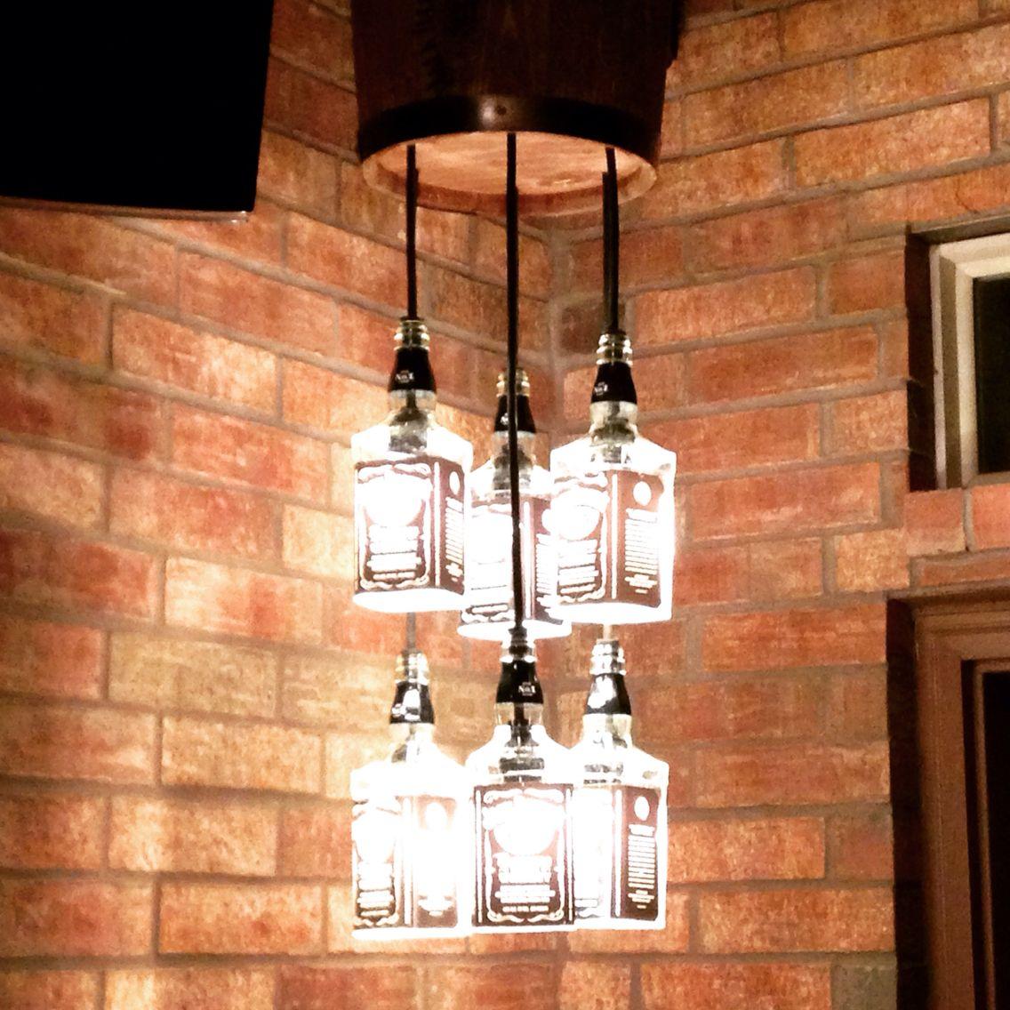 Jack Daniels Chandelier   Bottle chandelier, Bottle lights ...