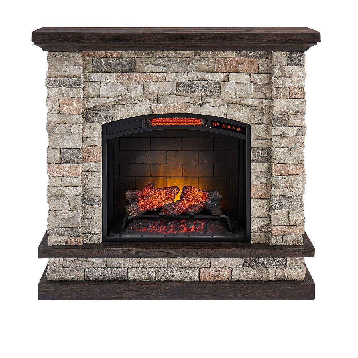 Allen Roth 43 5 In W Faux Stone Infrared Quartz Electric Fireplace Lowes Com Fireplace Electric Fireplace Best Electric Fireplace