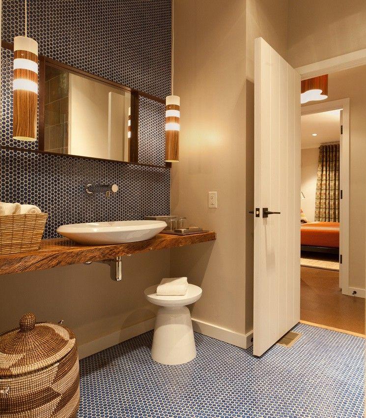 ModDotz Navy Blue Penny Round Mosaic Porcelain Tile Bathroom Wall And Floor  Installation