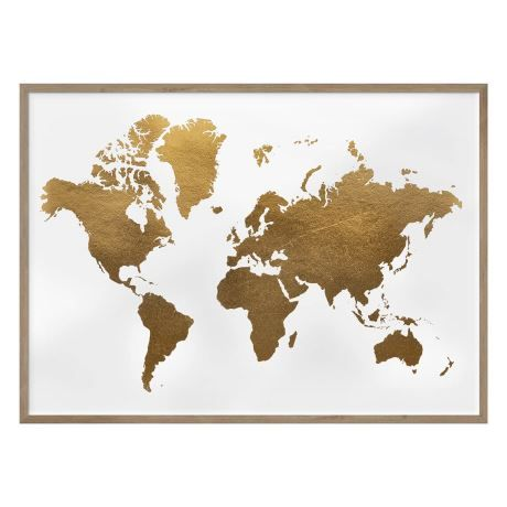 Voyage world map 76x56cm framed print gold foil room dorm room voyage world map 76x56cm framed print gold foil gumiabroncs Image collections