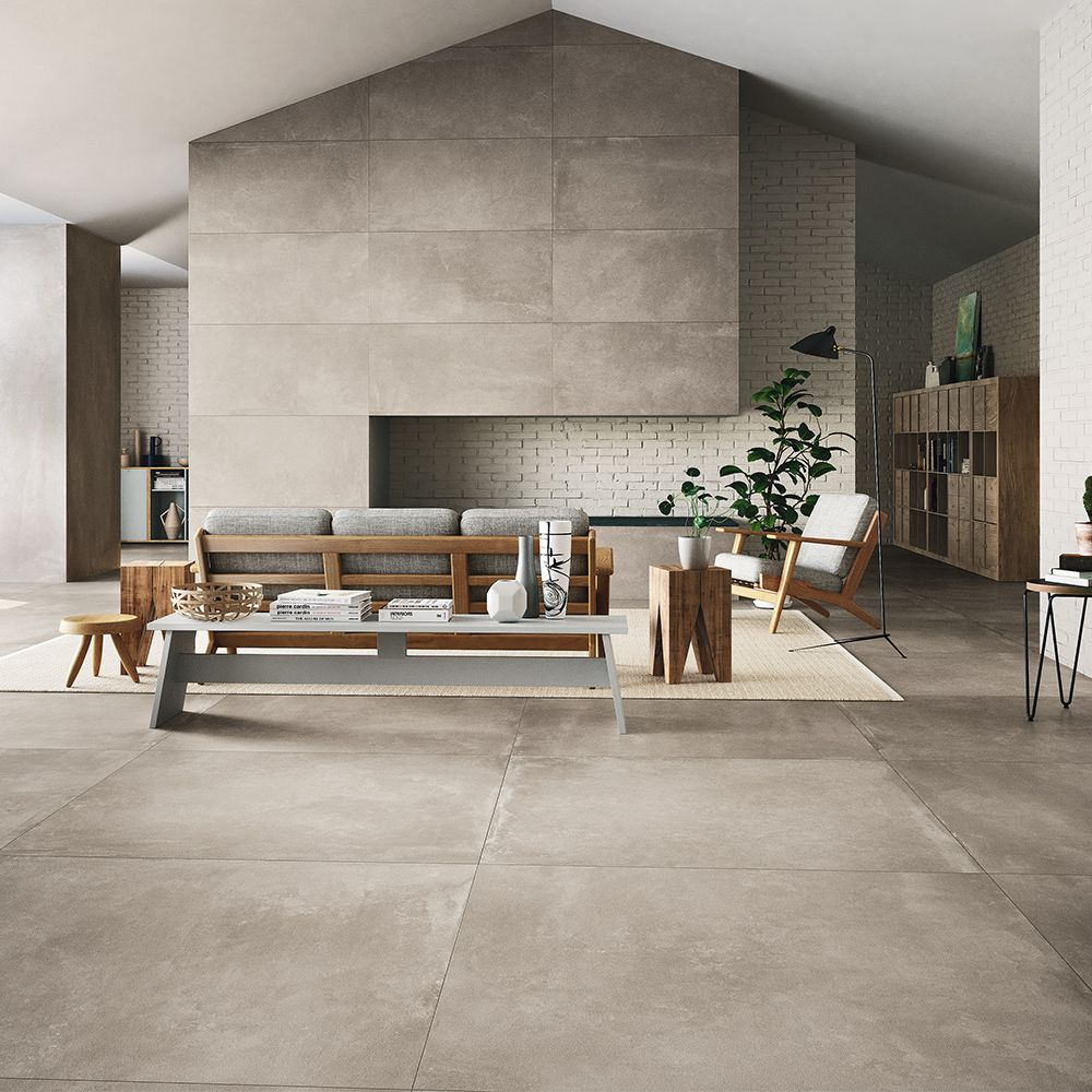 Carrelage Imitation Beton Cire 60x60 Ag Taupe Lisse Rectifie Collection Azuma Imola Living Room Flooring Large Floor Tiles Large Format Tile