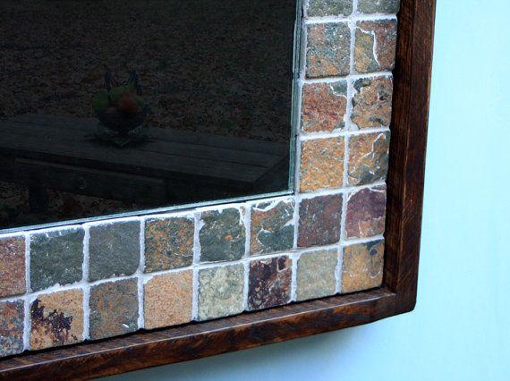 Slate Framed Mirror. Stone Framed Mirror. Copper Rust ...