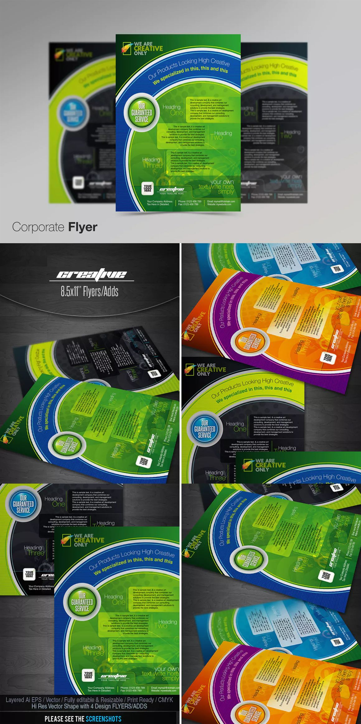 Creative Green Flyer Template Eps  Flyer Design Templates