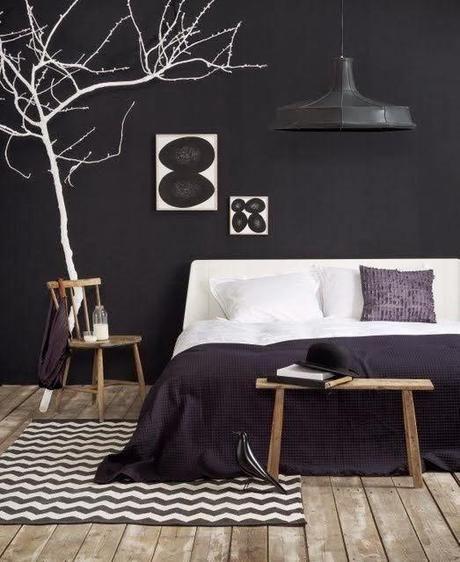 Déco black & white n°1 : la chambre | Murs noirs, Studios et Mur