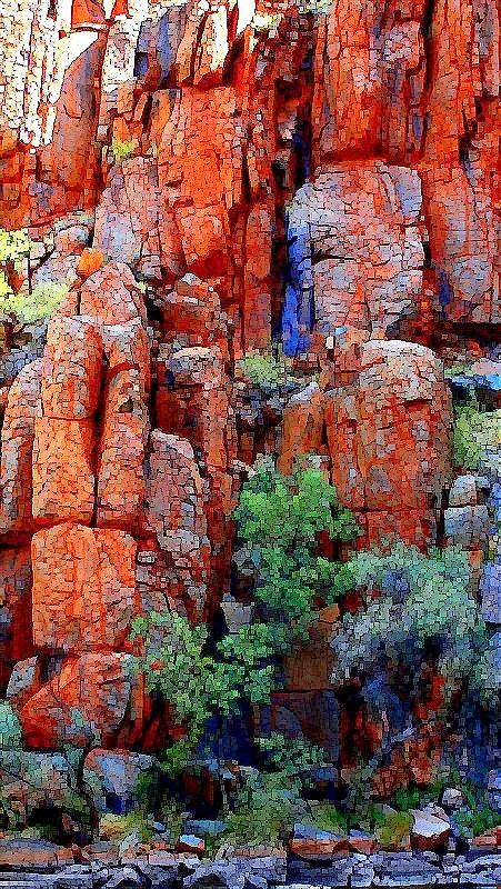 """My photo which I've pixelated using Paint Shop Pro, of """"Bee hive"""" rock formations at Python Pool, near Millstream, Millstream-Chichester National Park, The Pilbara"""