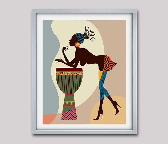 African american art wall decor woman painting also afrocentric iqstudio rh pinterest